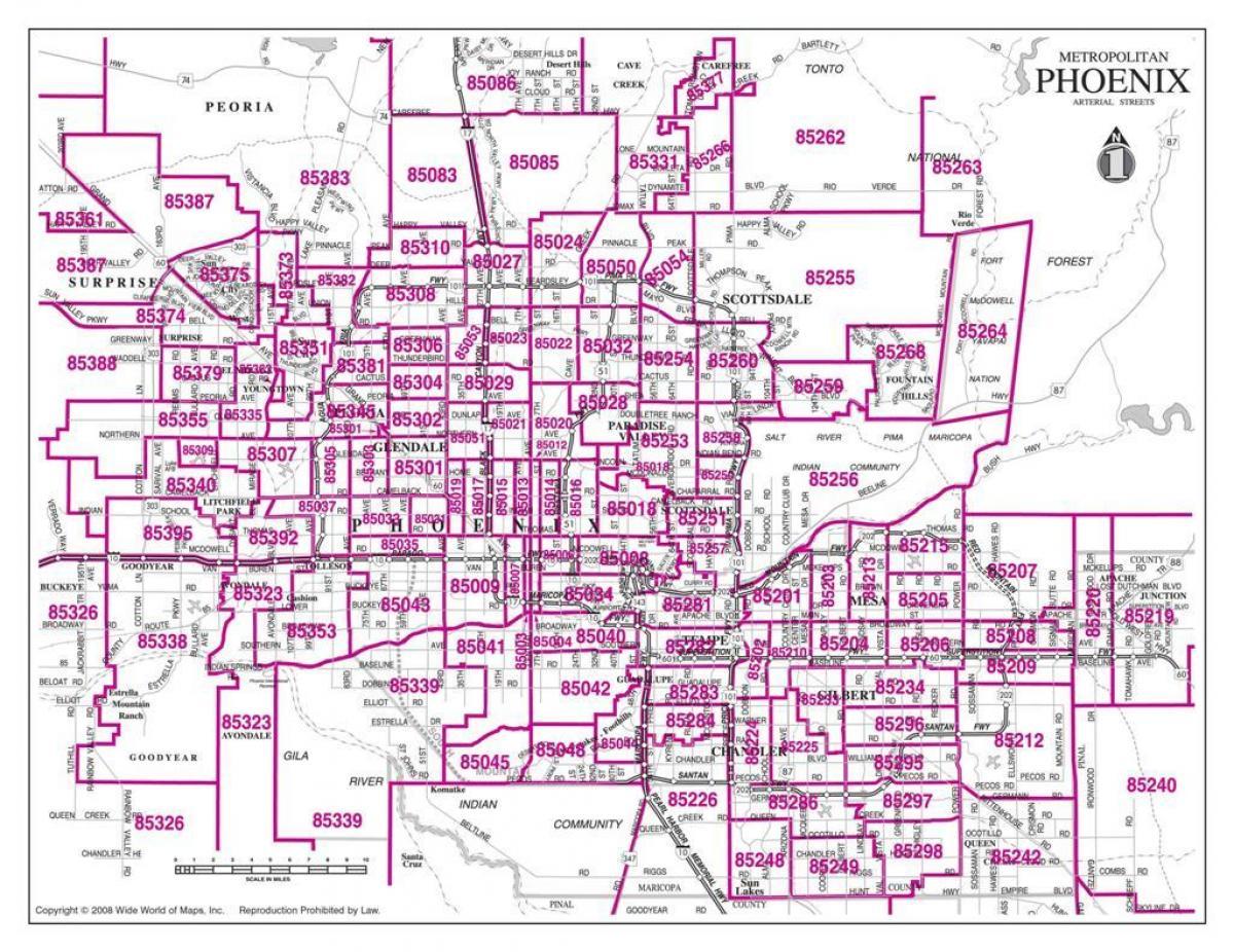 Phoenix Area Koodi Kartta Suuntanumero Kartta Phoenix Arizona Usa